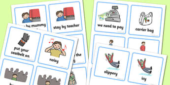 SEN Communication Cards Out and About (Boy) - SEN, communication cards, out and about, my environment, Visual Timetable, SEN, Daily Timetable, boys, School Day, Daily Activities, Daily Routine KS1