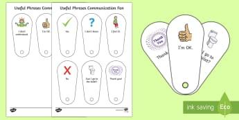 Useful Phrases Communication Fan - non verbal, communication, autism, selective mutism, EAL, SLCN, SLI, communication card