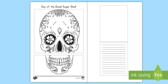 Day of the Dead Sugar Skull Writing Template - day of the dead, dia de los muertos, writing template, day of the dead writing template, sugar skull
