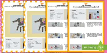 Decorated Elephant Handprint Craft Instructions English/French - decorated elephant, handprint, craft, instructions, hand print
