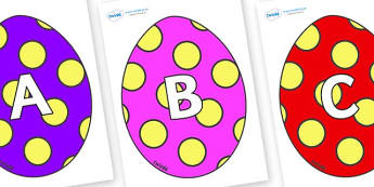 A-Z Alphabet on Easter Eggs (Spots) - A-Z, A4, display, Alphabet frieze, Display letters, Letter posters, A-Z letters, Alphabet flashcards