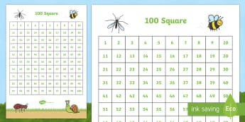 Minibeasts Theme 100 Number Square - number square, number, square, numeracy, minibeasts, insects, minibeast number square, maths, math, numbers, counting on, counting back, times tables, addition, subtraction, number sequences