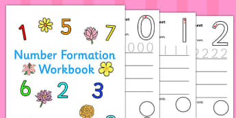 Number Formation Workbook Flowers - number, formation, flowers, overwriting