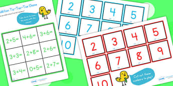 Addition Tic Tac Toe Game To Ten - addition games, math, game