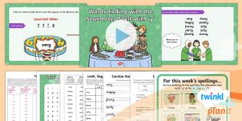 PlanIt English Y1 Term 3A W2 Words ending in 'y' Spelling Pack - Spellings Year 1, Term 3A, W2, words ending in y, ee, long vowel, digraph