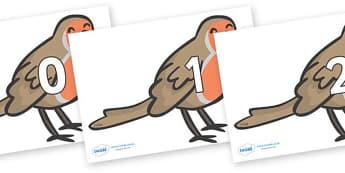 Numbers 0-100 on Robins - 0-100, foundation stage numeracy, Number recognition, Number flashcards, counting, number frieze, Display numbers, number posters