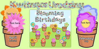 Blooming Birthdays Flower Display Pack Polish Translation - birthdays, display, pack