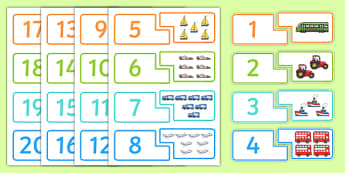 Transport Themed Counting Matching Puzzle - transport, counting, matching, puzzle, match, count