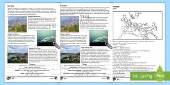 Europe Natural Features Reading Differentiated Comprehension Activity English/Romanian - Europe Natural Features Reading Differentiated Comprehension Activity - geography, comprehesion, com