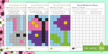 Spring Themed Multiplication Mosaic Activity Sheets - Spring, First Day of Spring, Multiplication, Times Tables, Mosaic, Art, Color, Coloring, Practice, M