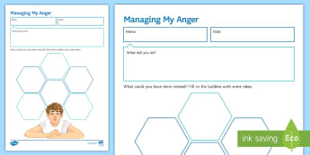 Managing My Anger (Male) Activity Sheet - anger, management, Behaviour, pastoral, classroom Management