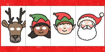 Christmas Role Play Masks - role play mask, role play, Christmas, santa, father Christmas, mother Christmas, elf