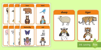 British Sign Language (BSL) Animals Flashcards - topic, activities, independent writing, spelling aid, sorting cards, activities, memory, animal phot