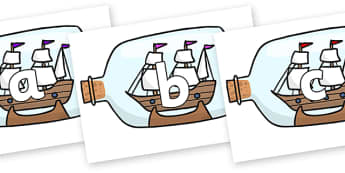 Phoneme Set on Ship in a Bottles - Phoneme set, phonemes, phoneme, Letters and Sounds, DfES, display, Phase 1, Phase 2, Phase 3, Phase 5, Foundation, Literacy