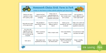 Active Homework Grid - Farm to Fork Themed Home Learning Challenges - Homework, home learning, active homework, outdoor learning, personalisation and choice, choosing, ac