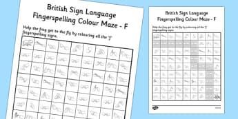 British Sign Language Left Handed Fingerspelling Colour Maze F