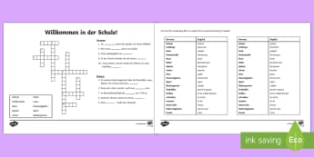 School Themed  Crossword - School, German, Crossword, transistion ks2, mfl, modern foreign language, classes, vocabulary