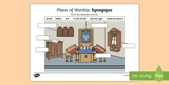 Places of Worship Synagogue Activity Sheet - CfE Religious Education, places of worship, church, synagogue, mosque, worksheet