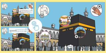 KS1 Eid al Adha Picture Hotspots Arabic/English - Muslim, festival ,Islam, RE, celebration,Arabic-translation