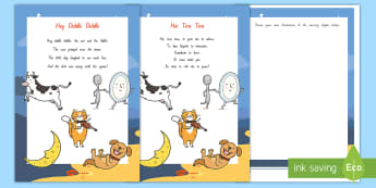 Hey Diddle Diddle Activity Sheet - NZ Literacy Resources, Year 1-3, nursery rhymes, New Zealand, activity, activities, reading, workshe