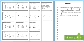 Adding Tenths and Hundredths Task Cards - tenths, hundredths, fractions, decimals, equivalent fractions, adding fractions
