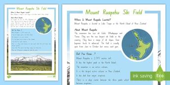 Mount Ruapehu Ski Field Fact File - New Zealand, Winter, Seasons, Mountains, Snow Day,
