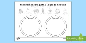 Foods I Like and Dislike Spanish Activity Sheet - Spanish, Vocabulary, KS2, food, like, dislike, activity, sheet, worksheet, sorting, categories, eati