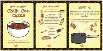 Chilli Recipe Cards - recipe, cards, chilli, bonfire night, food