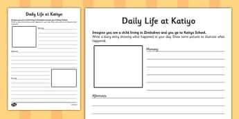 Daily Life at Katiyo Zimbabwean School Diary Entry Activity - writing, english, africa, culture, routine, comparison, contrast, ks2, key stage 2