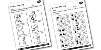 Draw The Other Half Symmetry Activity Sheet - reflections, reflection worksheet, symmetry, symmetry worksheet, mirroing images, complete the image worksheet, ks2 maths