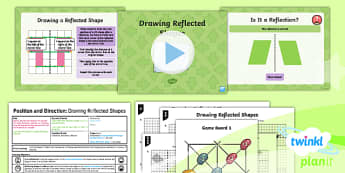 PlanIt Y5 Position and Direction Lesson Pack (5) Drawing Reflected Shapes - Position and Direction, reflection, symmetry, reflective symmetry, mirror line