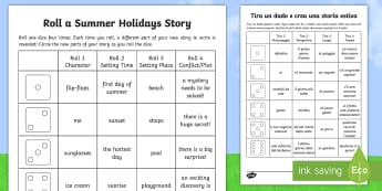 Roll a Summer Holidays Story Storyboard Template English/Italian - End of Year, summertime, summer, summer holidays, story writing, roll a story,Australia, EAL,Austral
