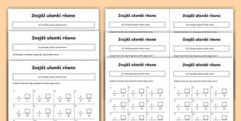 Karty o zróżnicowanym poziomie Znajdź ułamki równe - matematyka, ułamki, zwykłe, dodawnanie, licznik, mianownik, równe, licznika, mianownika, znajdź,