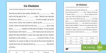 Cú Chulainn Cloze Passage Activity Sheet - CfE, Cú Chulainn, history, famous scots, warrior, legend, missing word, ulster cycle, hound of ulst