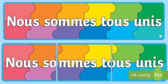 Banderole d'affichage : Grand puzzle de classe   - Affichage, présentation, rentrée scolaire, nouvelle classe, se faire des amis,French