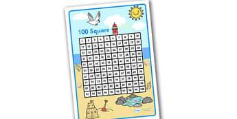 Seaside Themed 100 Number Square - seaside, seaside number square, seaside 100 square, beach, at the beach, at the seaside, seaside numeracy