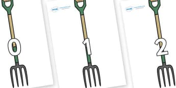 Numbers 0-50 on Garden Forks - 0-50, foundation stage numeracy, Number recognition, Number flashcards, counting, number frieze, Display numbers, number posters
