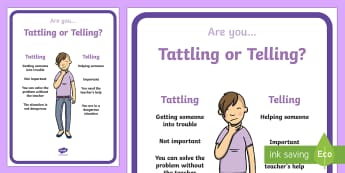 Tattling or Telling Display Poster - Classroom Management and Organization, management, organization, classroom management, class managem