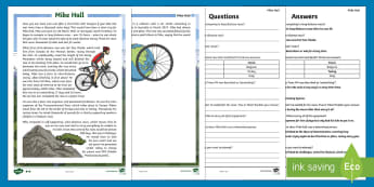 KS2 Mike Hall Differentiated Reading Comprehension Activity - Mike Hall, cycle, cyclist, bike, bicycle, race, racing, adventure, adventurer, helmet, safety, Ultra