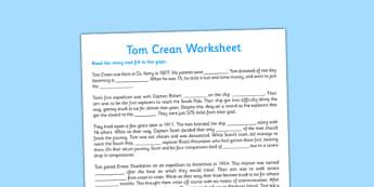 Tom Crean Cloze Procedure Worksheet - Tom Crean, Irish History, South Pole, Antarctica, cloze procedure, worksheet