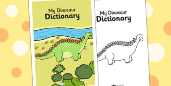Dinosaur Dictionary Cover - dinosaurs, dictionary, literacy