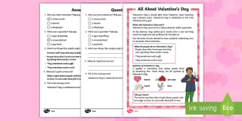 St. Valentine's Day KS1 Differentiated Reading Comprehension Activity - Valentine's Day, Saint Valentine, Saints, love, symbols, reading, comprehension, reading comprehens