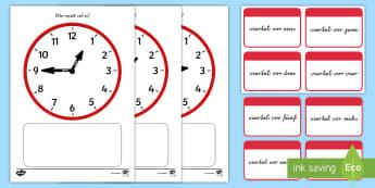 Uhrzeiten: viertel vor Memorykarten - Zeit, Uhr, Minuten, Sekunden, Stunden, Analoguhr, ,German
