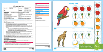 Feeding Time at the Zoo Counting Game EYFS Adult Input Plan and Resource Pack - feeding, time