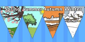Four Seasons Bunting - four seasons, bunting, display, seasons