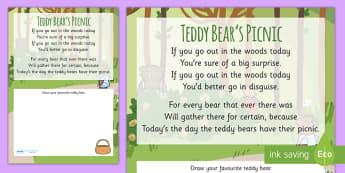 Teddy Bear's Picnic Rhyme Worksheet - teddy bears picnic, rhyme