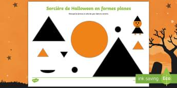 Feuille d'activités : Sorcière en formes planes à découper - Sorcier, Sorcière, Magie, Halloween,mathématiques, formes, Cycle 1, Cycle 2,French