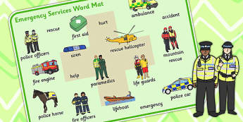 Emergency Services Word Mat - people who help us, keyword mat