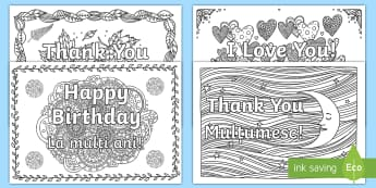 Greetings Mindfulness Colouring Pages English/Romanian -  colours, relax, well being, stress, anxiety, EAL,