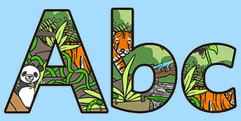 Jungle Themed A4 Display Lettering - jungle, jungle display